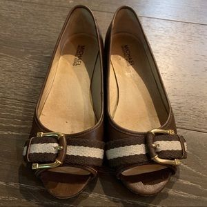 Michael Kors Peep Toe Flats 6.5 Brown Leather Shoe